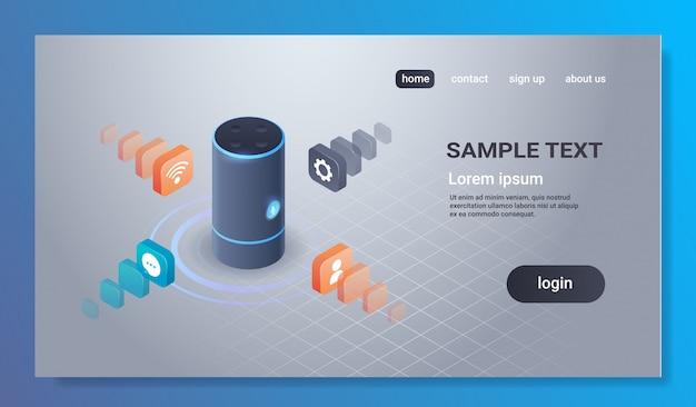 Il riconoscimento vocale intelligente intelligente ha attivato il concetto automatizzato 3d del rapporto di comando degli assistenti digitali isometrico Vettore Premium