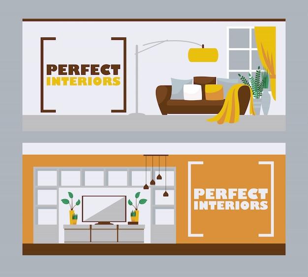 Banner di interior design Vettore Premium