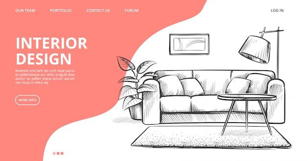 Pagina di destinazione del design degli interni. abbozzo di vettore del soggiorno. mobili disegnati a mano Vettore Premium