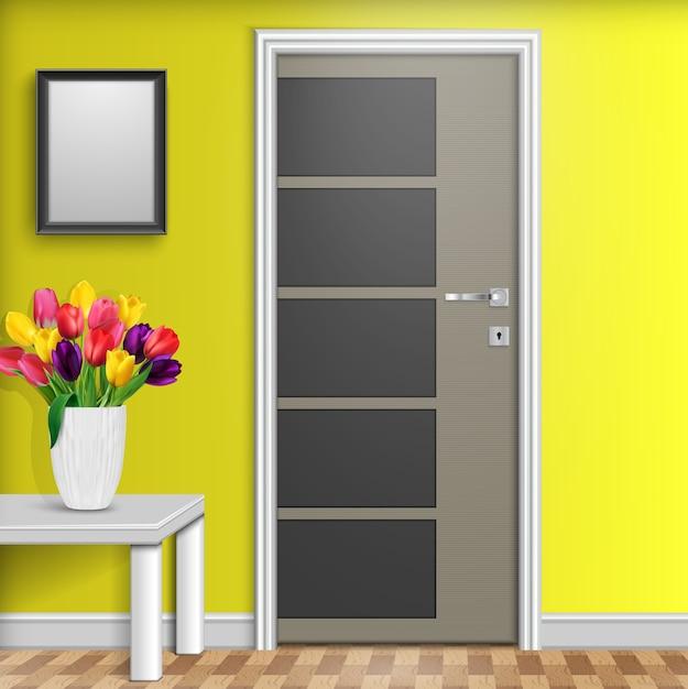 Interior design con porta e fiori Vettore Premium