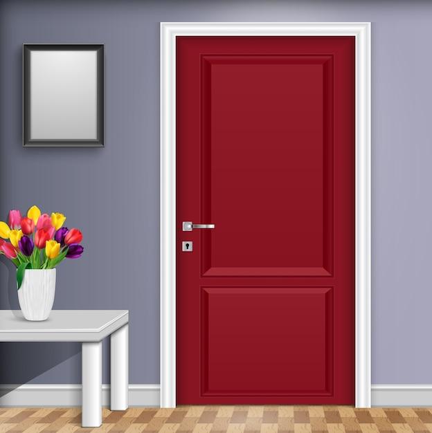 Design degli interni con porta rossa e fiori di tulipano Vettore Premium