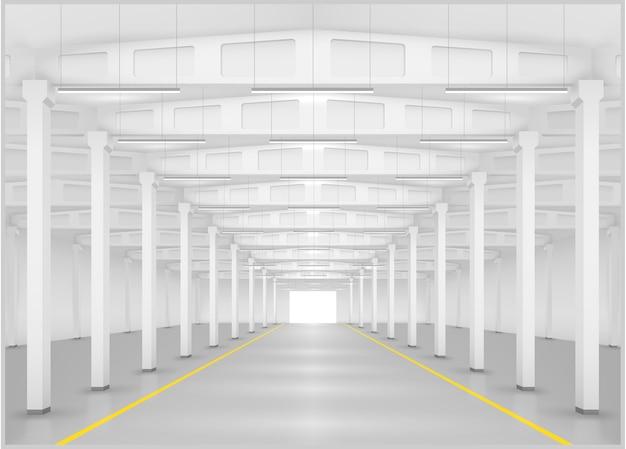Interno di una fabbrica o magazzino Vettore Premium