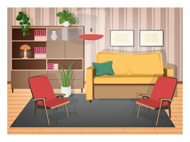 Interno del soggiorno arredato con mobili retrò e ...
