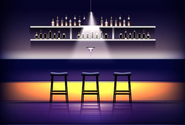 Interno di pub, bar o caffetteria. bancone bar vuoto con lampada sopra, cocktail, sgabelli, mensole con bottiglie di alcol. Vettore Premium