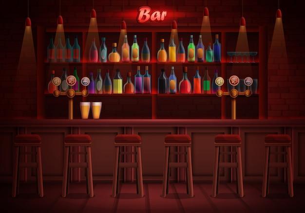 Interno di un pub con sedie e un assortimento di alcolici, illustrazione Vettore Premium