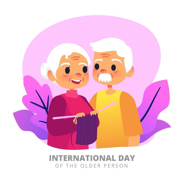 Giornata internazionale del concetto di persone anziane Vettore Premium