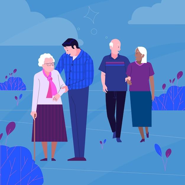 Giornata internazionale degli anziani Vettore Premium
