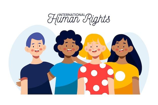 Illustrazione della giornata internazionale dei diritti umani Vettore Premium