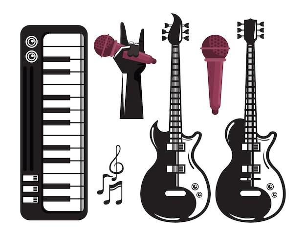 Manifesto del festival musicale internazionale con chitarre elettriche e set di icone Vettore Premium
