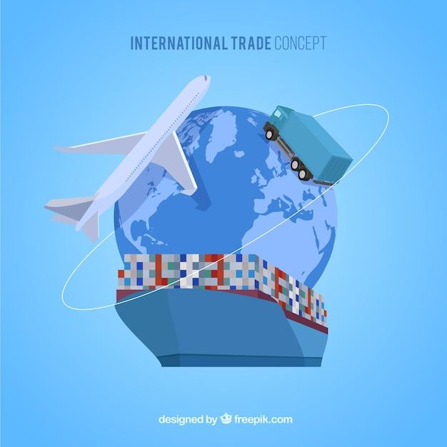 Concetto di commercio internazionale con design piatto Vettore Premium
