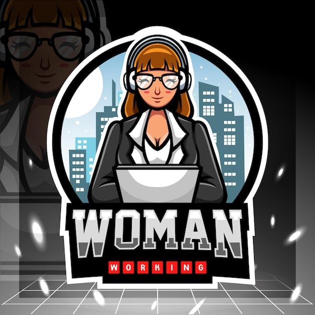 Mascotte della giornata internazionale della donna. design del logo esport. Vettore Premium