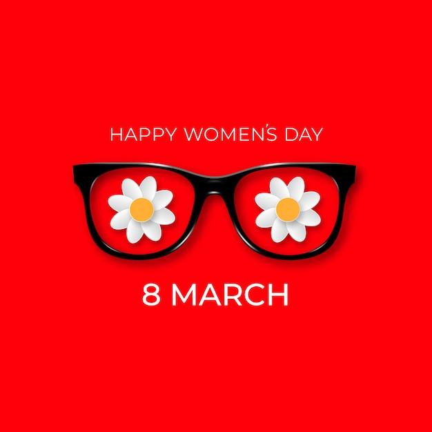Giornata internazionale della donna. 8 marzo. occhiali neri hipster con fiori bianchi. Vettore Premium