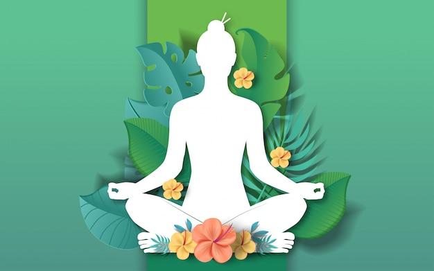 Illustrazione di giornata internazionale dello yoga Vettore Premium