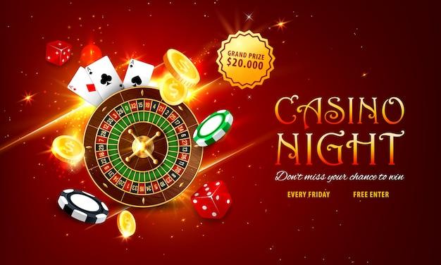 Banner web roulette casinò internet, landing page Vettore Premium