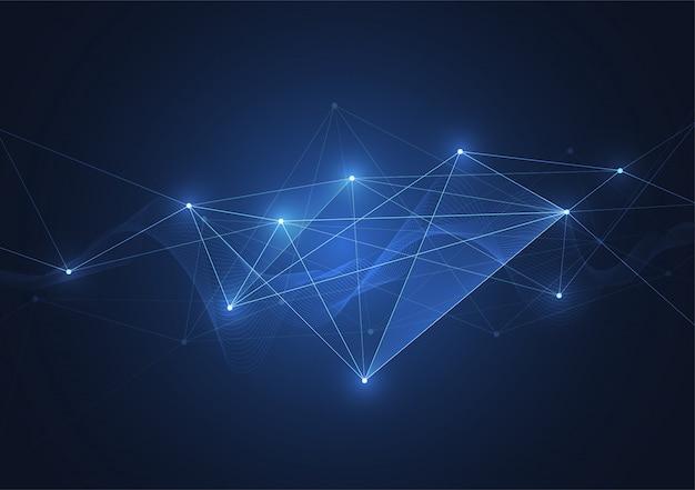 Connessione internet, senso astratto della scienza e della tecnologia grafica Vettore Premium