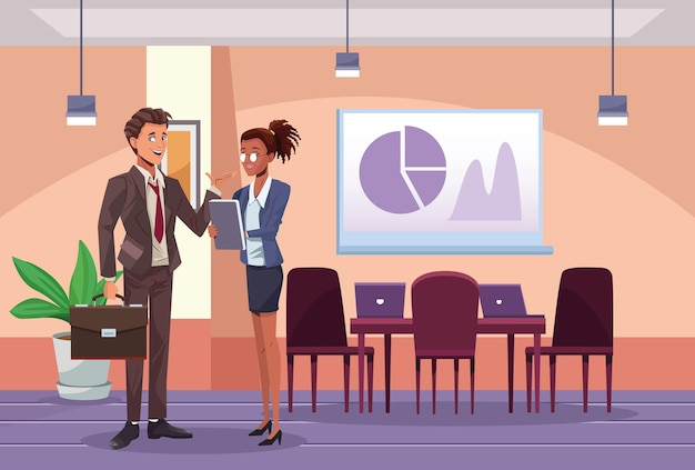 Lavoratori interrazziali delle coppie di affari nell'illustrazione della scena del posto di lavoro Vettore Premium