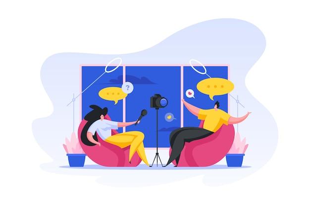 Ripresa di interviste per blog video. illustrazione di persone dei cartoni animati Vettore Premium