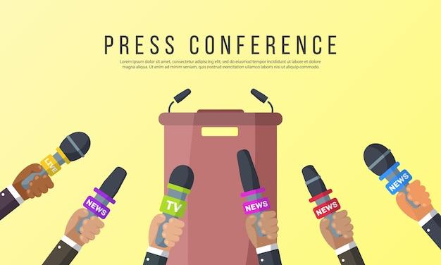 Le interviste sono giornalisti di canali di notizie e stazioni radio, microfoni nelle mani di un giornalista, idee per conferenze stampa, interviste, ultime notizie. Vettore Premium