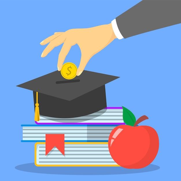 Investimento nel banner web del concetto di educazione. risparmio per studio Vettore Premium
