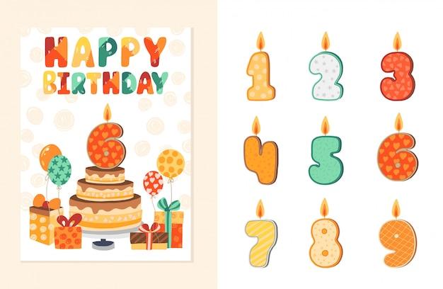 Carta di invito per una festa per bambini. modello di buon compleanno con elementi di aggiunte. illustrazione. Vettore Premium