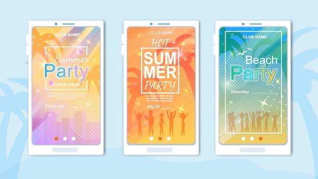 Invito cartoon cards set per beach party e clubbing in tropic country Vettore Premium
