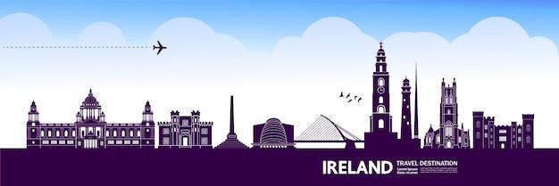 Destinazione di viaggio in irlanda. Vettore Premium