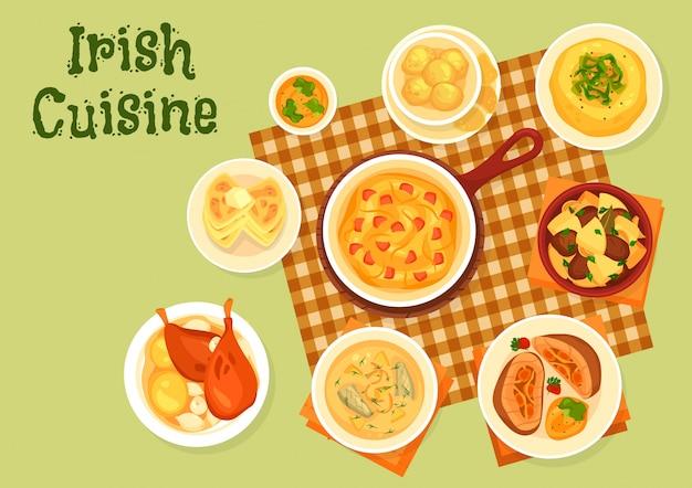 Piatti irlandesi della patata con l'illustrazione del pesce, della carne e delle verdure Vettore Premium