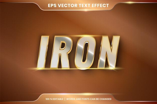 Effetto testo argento ferro e oro modificabile Vettore Premium