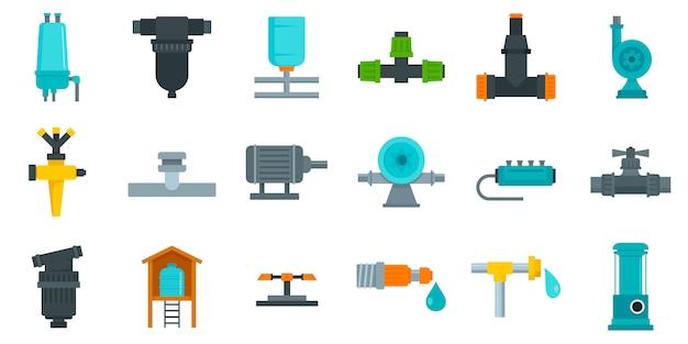 Set di icone del sistema di irrigazione Vettore Premium