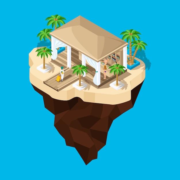 È un'isola favolosa, un cartone animato, una ragazza con una valigia va in albergo, un paesaggio di gioco. vacanze in paesi caldi Vettore Premium