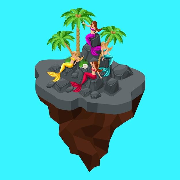 È un'isola fatata, un cartone animato, una ragazza di sirene, seduta sulle rocce del camino, su uno sfondo azzurro del mare. personaggi fiabeschi bellissime sirene Vettore Premium