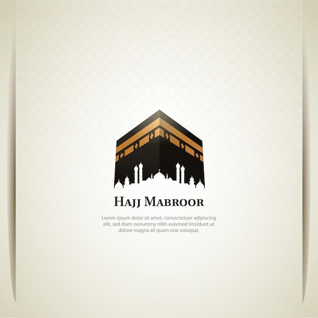 Disegno di carta di pellegrinaggio hajj islamico con sacra kaaba Vettore Premium