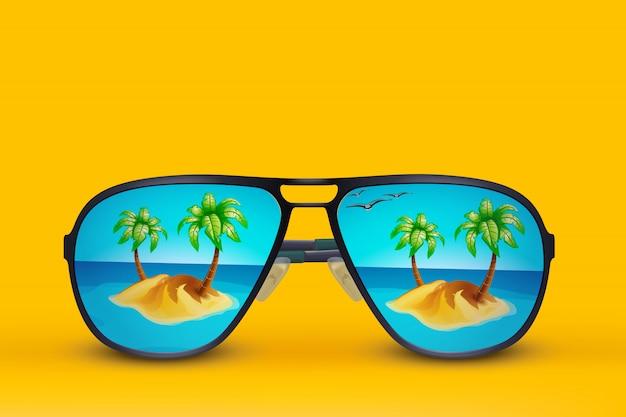 Vetri di sole dell'isola su giallo Vettore Premium