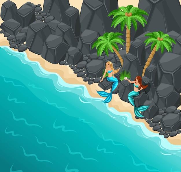 Isola, due sirene su una costa rocciosa, rocce, palme, mare, serenate dal cuore dolce, mare, coda, pesce Vettore Premium