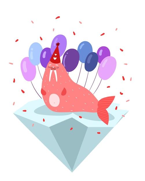 Tricheco rosa carino isolato su un lastrone di ghiaccio in un cappello con palloncini Vettore Premium