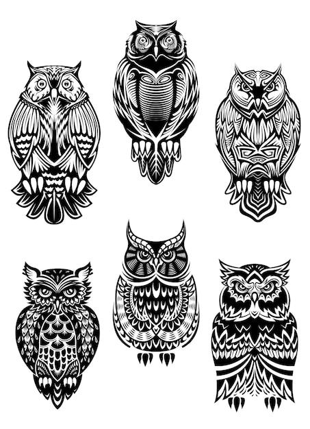 Uccelli gufo isolati in stile tribale per mascotte, tatuaggio o concetto di fauna selvatica Vettore Premium