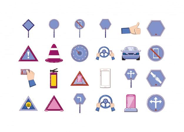 Insieme isolato dell'icona del segnale stradale Vettore Premium