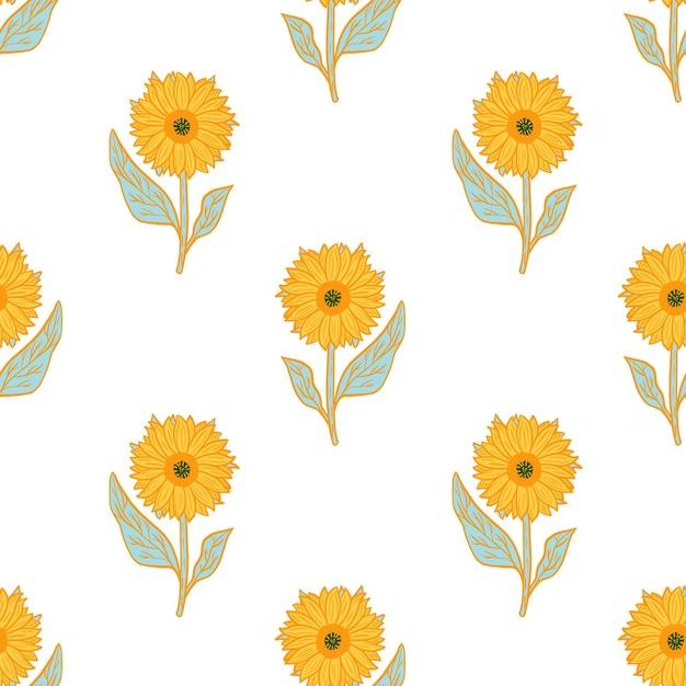 Modello senza cuciture isolato con ornamento di girasoli giallo brillante. Vettore Premium