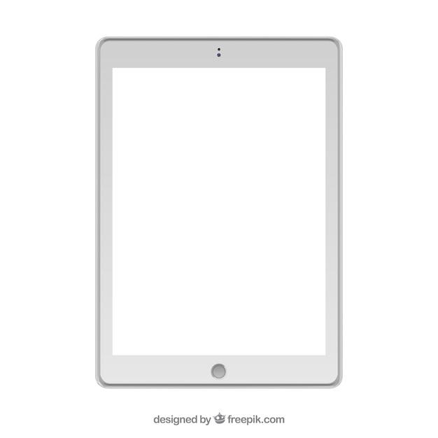 Isolato disegno tablet bianco Vettore Premium