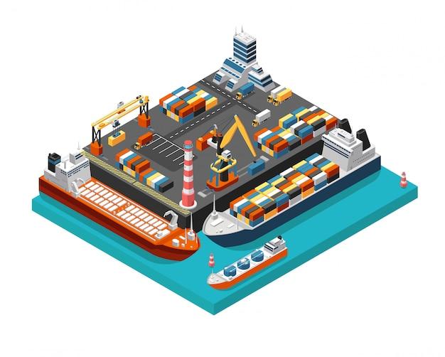 Terminale isometrico del porto marittimo 3d con le navi da carico, le gru e i contenitori nella vista aerea del porto. illustrazione vettoriale di industria marittima Vettore Premium