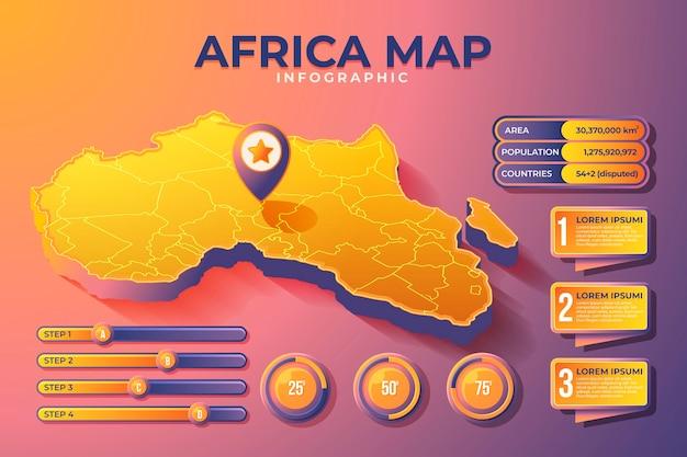 Mappa isometrica africa infografica Vettore Premium