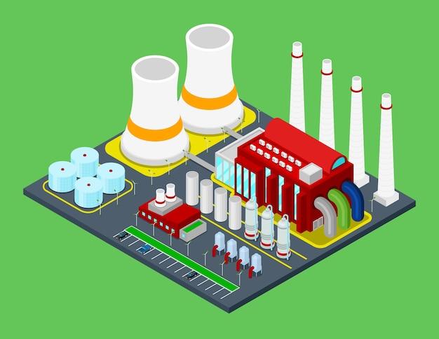 Fabbrica industriale di edificio isometrico con tubi. città urbana Vettore Premium