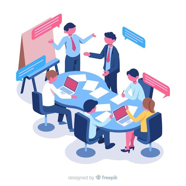 Uomini d'affari isometrici in una riunione Vettore Premium