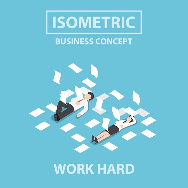 Uomini d'affari isometrica Vettore Premium