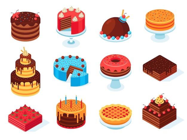 Dolci isometrici, fetta di torta al cioccolato, deliziosa torta di compleanno a fette e gustoso set di torta isolato glassa rosa 3d Vettore Premium