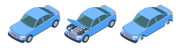 Set auto isometrica Vettore Premium