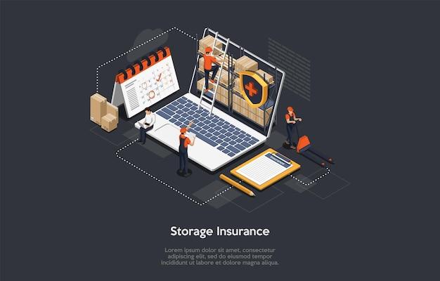 Concetto di assicurazione del carico isometrica. Vettore Premium