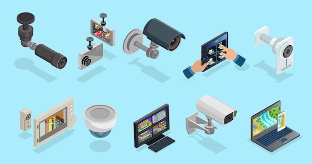 Raccolta di elementi cctv isometrici con dispositivi elettronici di telecamere di sicurezza per diversi tipi di monitoraggio e sorveglianza isolati Vettore Premium