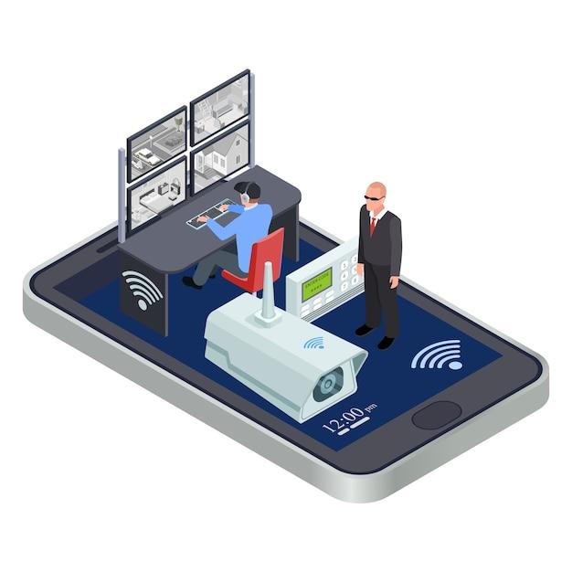 Sistema di sicurezza cctv isometrico Vettore Premium