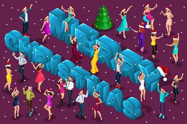 Celebrazione isometrica, uomini e donne si divertono sullo sfondo delle grandi lettere Vettore Premium